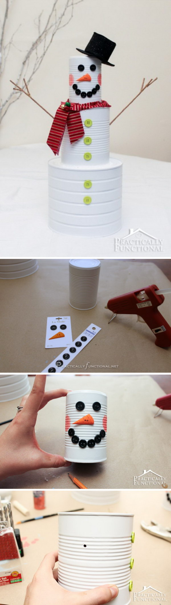 DIY Christmas Craft: Tin Can Snowman.