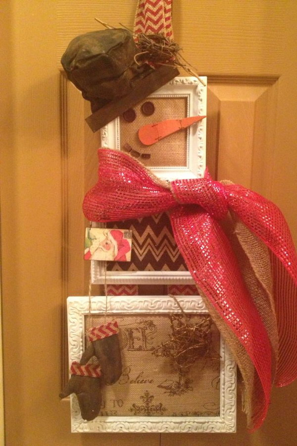 Upcycled Snowman Wreath.