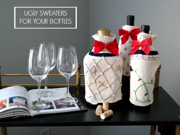 Ugly Christmas Sweater Bottle Cover Station.