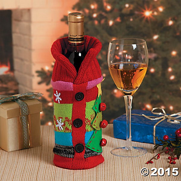Party Favor: Ugly Christmas Sweater Bottle Bag.