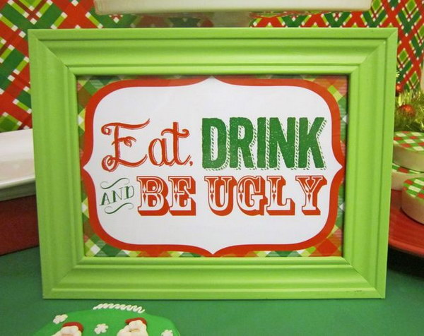 Fun Sign for an Ugly Sweater Party.