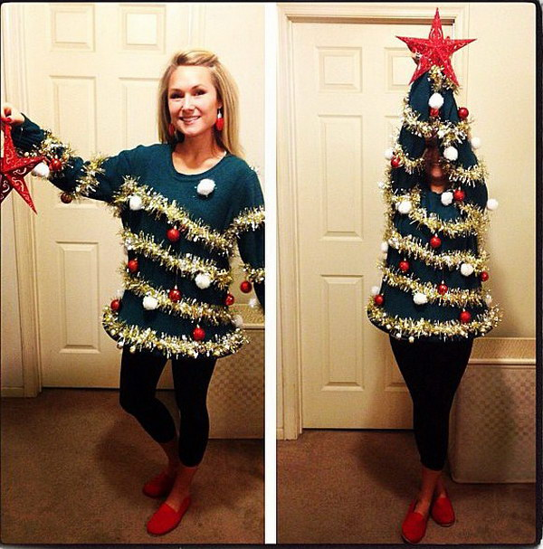 DIY Christmas Tree Sweater.
