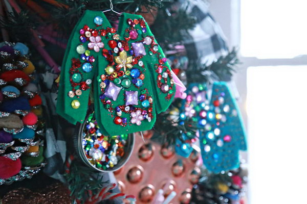 ugly christmas sweater ornaments handmade ornaments for your party decor - How To Decorate A Ugly Christmas Sweater