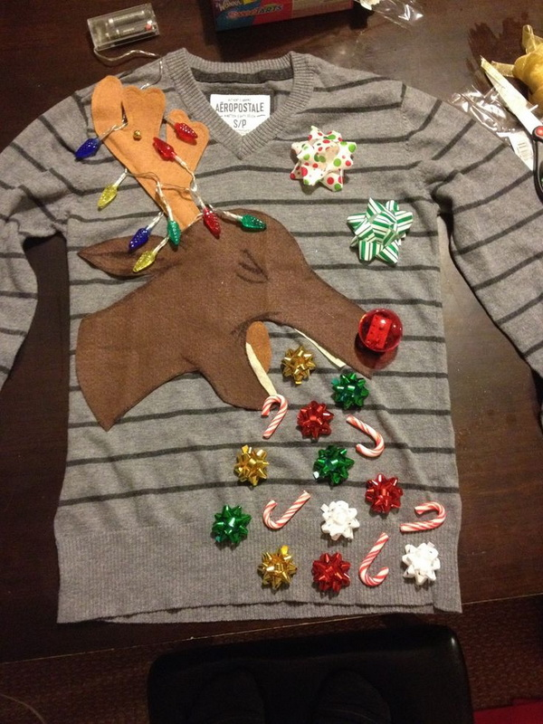 A Vomiting Reindeer Ugly Christmas Sweater