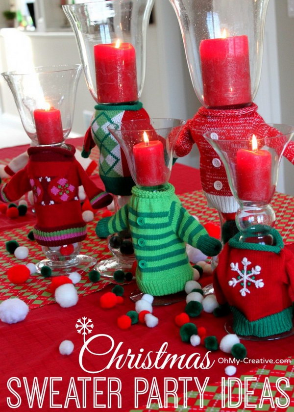 Sweater Glass Candle Holders.