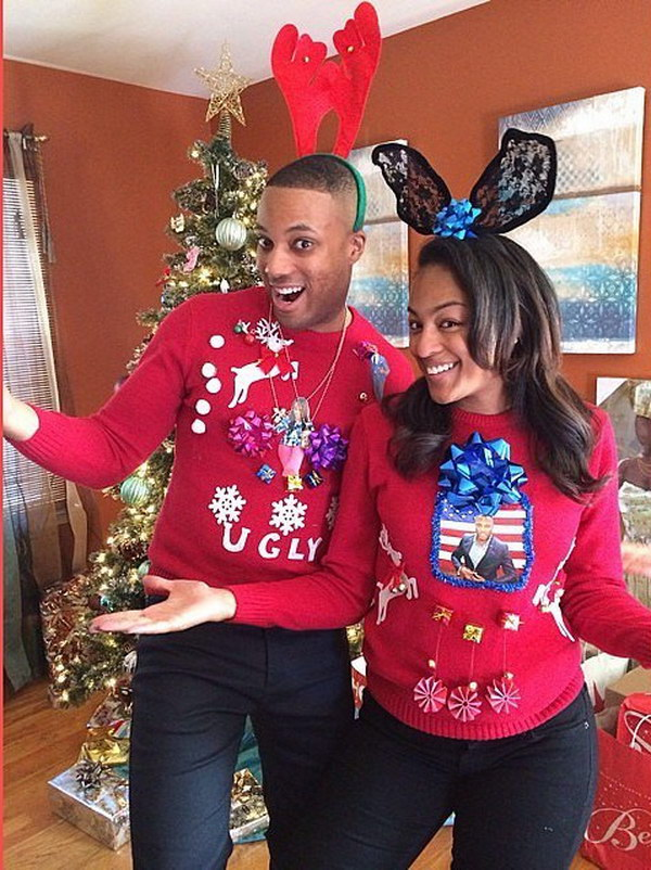 Cute Couples Ugly Christmas Sweaters.