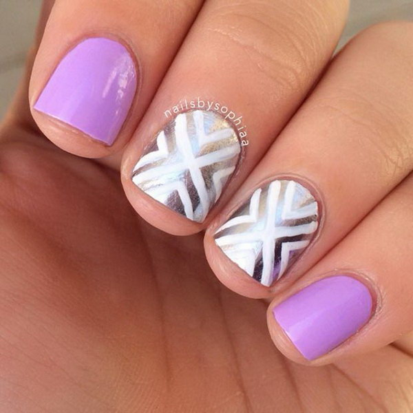 35 cute nail designs for short nails light purple and silver nail design prinsesfo Gallery