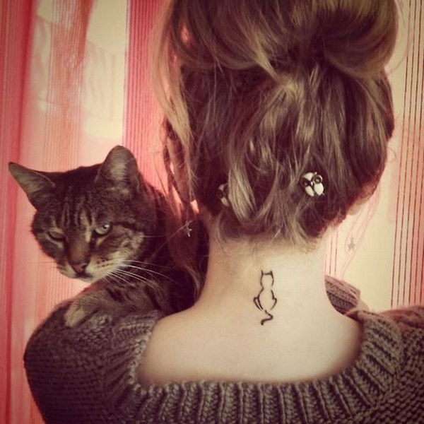 Cat Tattoo on Back of Neck