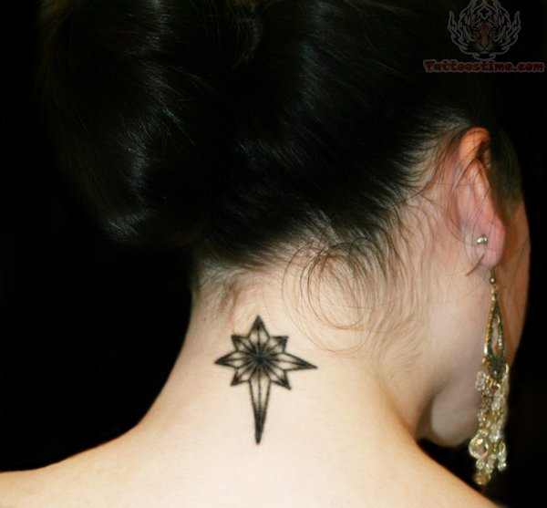 Compass Back Neck Tattoo Design