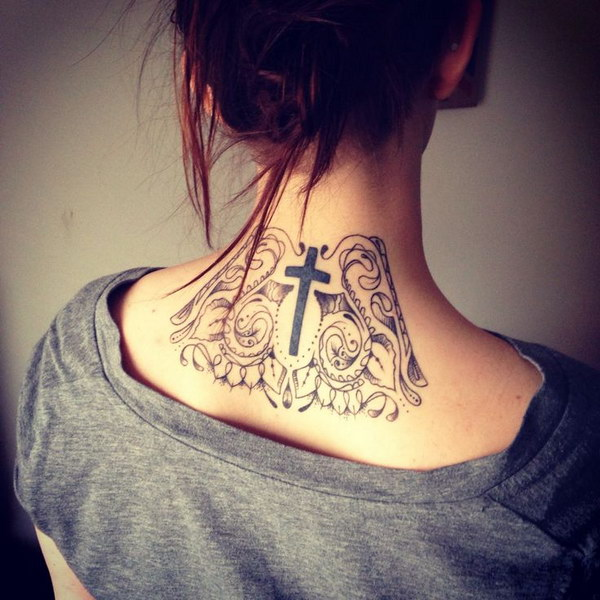 Back of Neck Tattoo with a Cross in the Center
