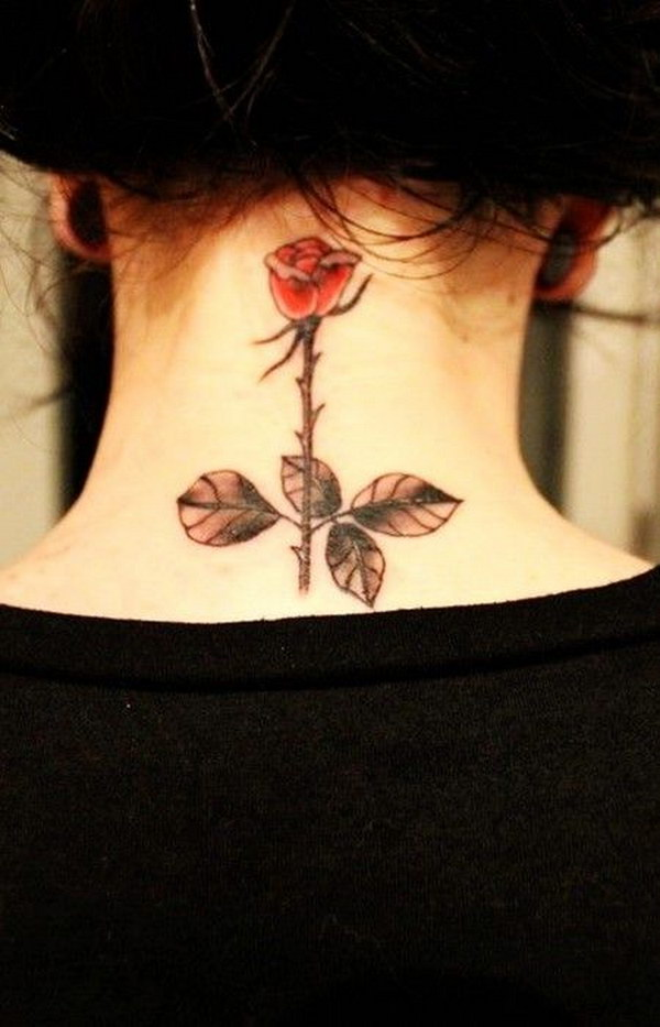Pretty Watercolor Rose Tattoo on Neck