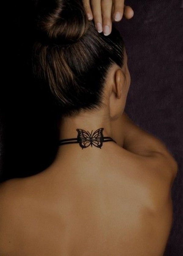 Butterfly  Collar Tattoo