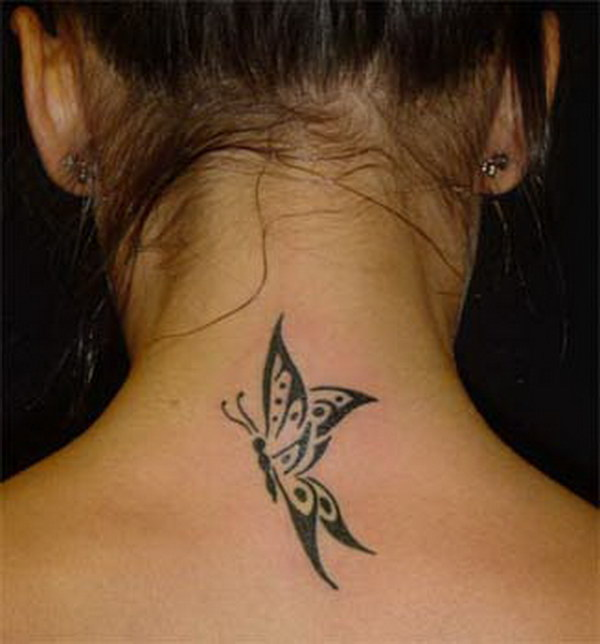 Butterfly Tattoo Back Of Neck