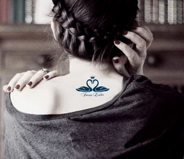 Elegant Swan Crown Temporary Tattoo
