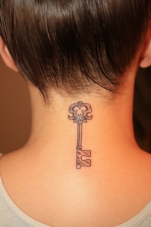 Simple Key Tattoo on Neck