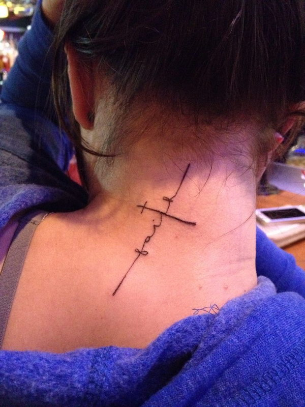 Cross Faight Tattoo for Women on Back of the Neck