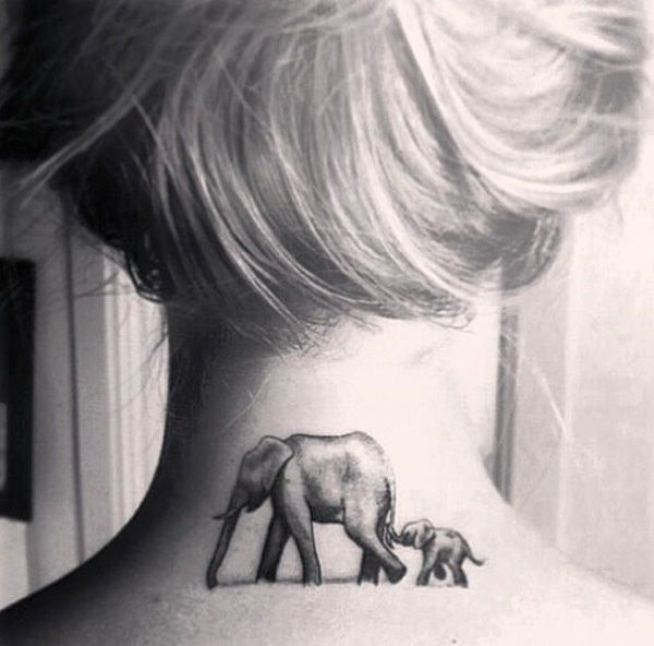 Back of Neck Mama & Baby Elephant Tattoo