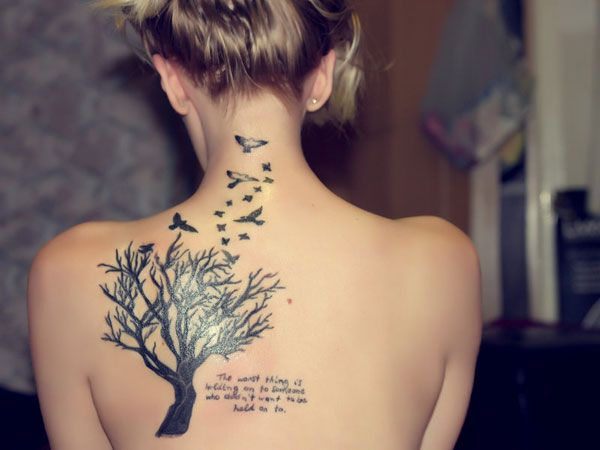 Birds and Tree Tattoo on Back Neck