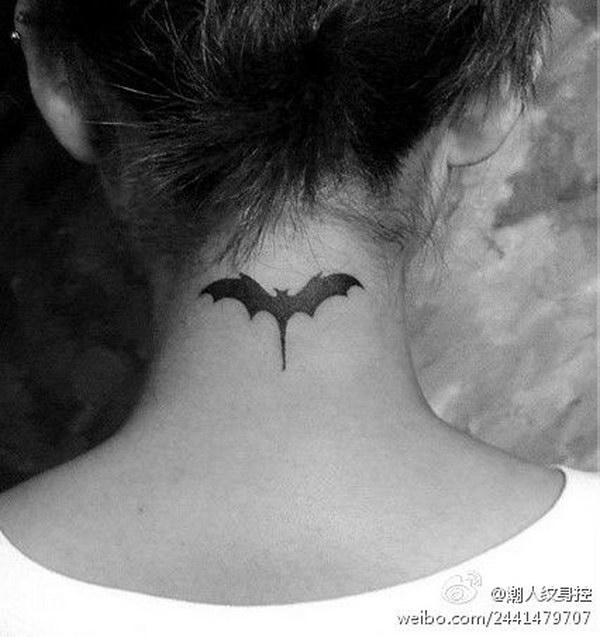 Cool Bat Tattoo on Back Neck