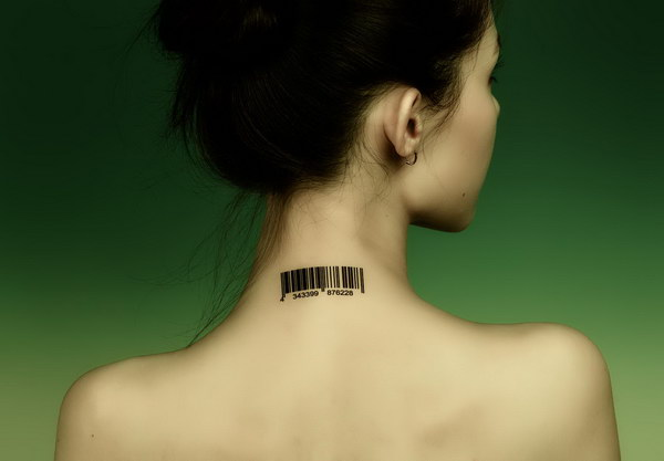 Barcode Neck Tattoo