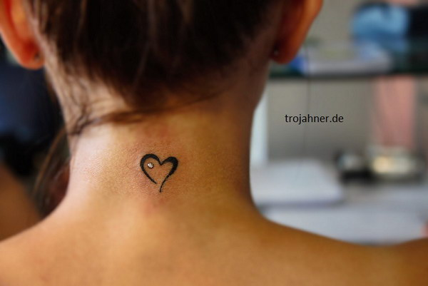 Tiny Heart Tattoo on Back of Neck