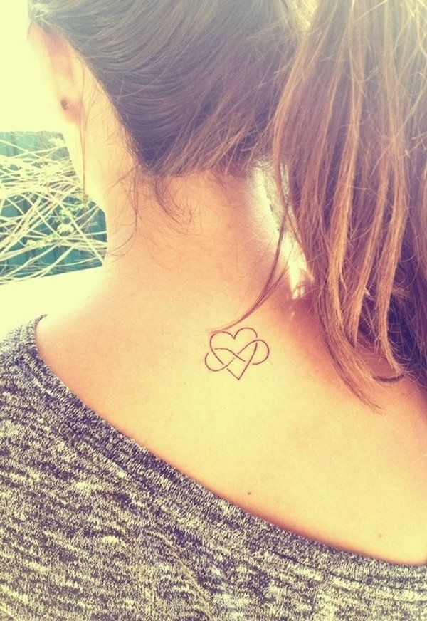 Heart Tattoo for Girl on Back Neck