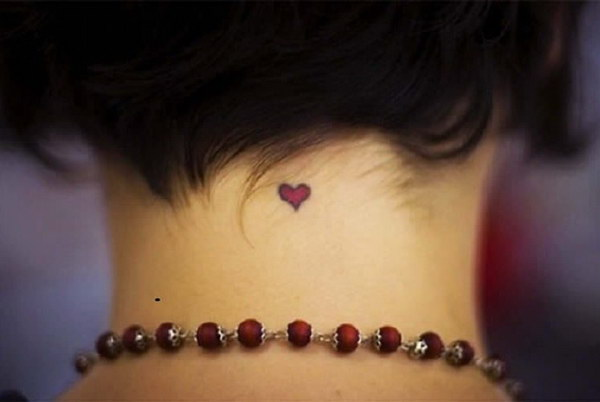 Tiny and Cute Heart Tattoo on Back of the Neck