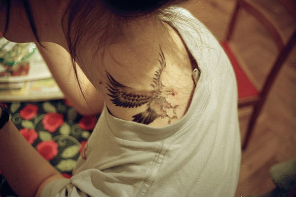 Beautiful Eagle Neck Tattoo