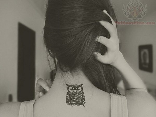 Owl Back Neck Tattoo