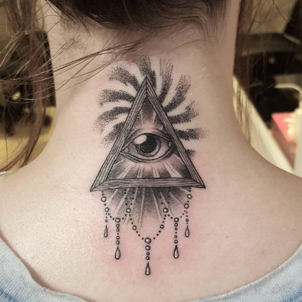 The All Seeing Eye Tattoo on Back of Neck
