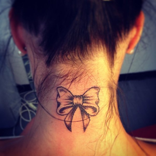 Ribbon Tattoo on Neck for Women
