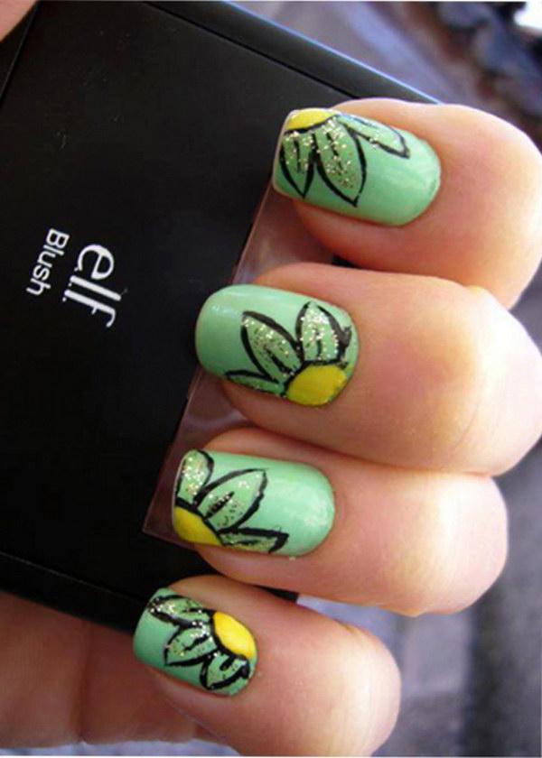 Cute Floral Spring Nail Art