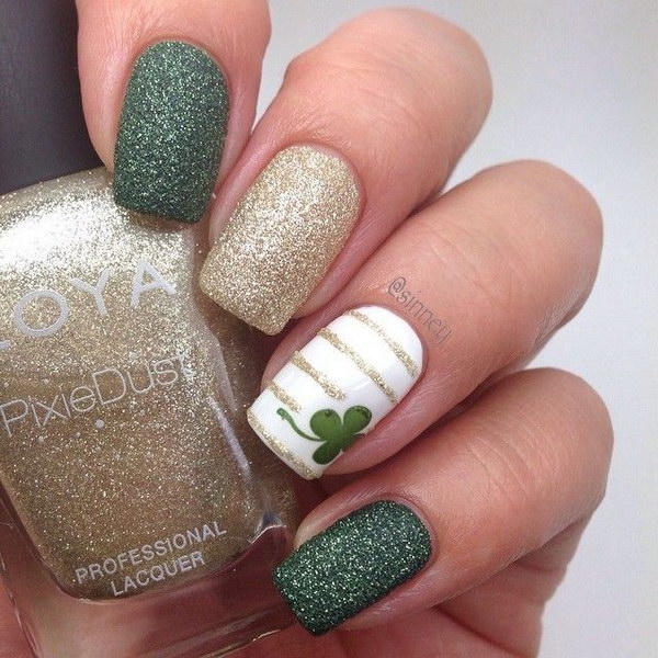 Deep Green and Gold Lucky Shamrock Nail Art