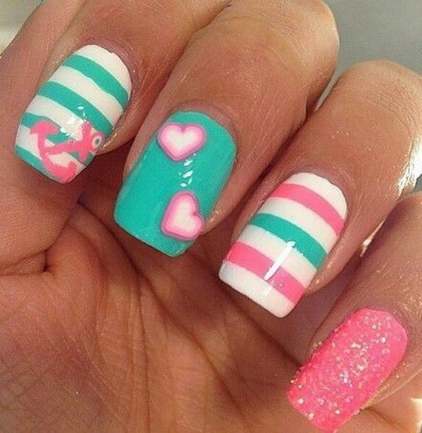 Cute Anchor, Hearts and Stripes  Nail Art Design