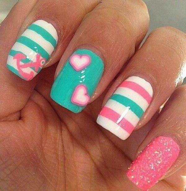 Cute Anchor, Hearts and Stripes  Nail Art Design