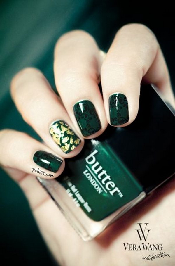 Emerald Nails with Foil and Black Swirls