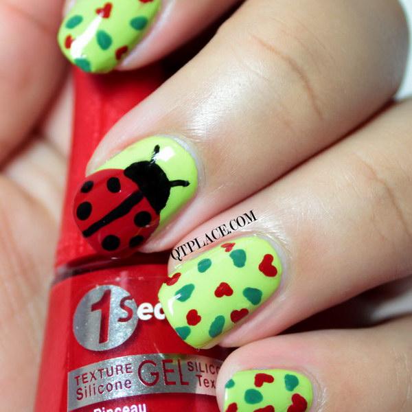 Apple Green, Black and Red Ladybug Nail Art