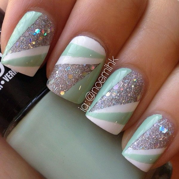Sparkly Mint green, Glitter and Strip Nail Art - 100+ Awesome Green Nail Art Designs