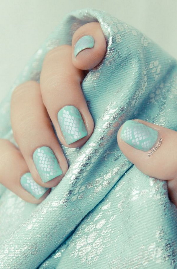 Mint and Silver Python Using Nail Stamps Nail Art Design