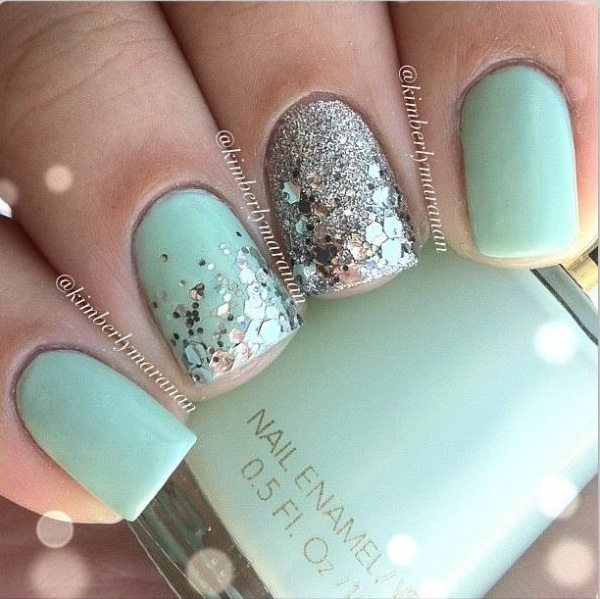 Mint Color Nails with Glitter - 100+ Awesome Green Nail Art Designs