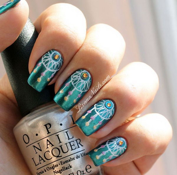 Boho Peacock Green Dream Catcher Nail Art Design