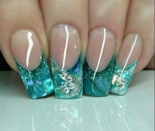 Gorgeous Aqua Glitter Tips French Nails - 100+ Awesome Green Nail Art Designs