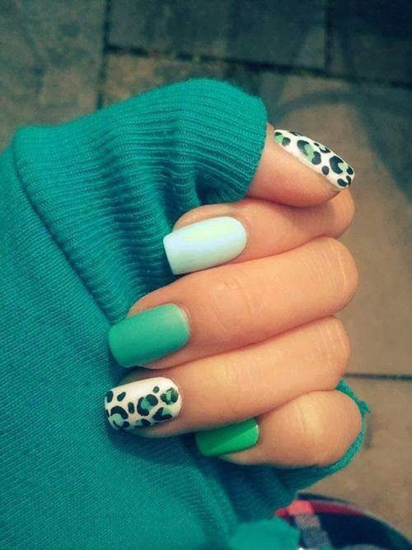 Aquamarine and White Matte Polish Topped with Simple Leopard Prints