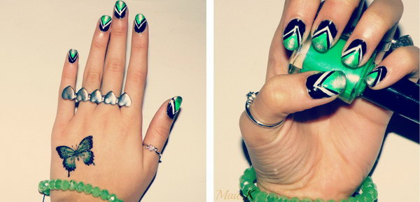 Glamorous Green Black and Silver Chevron Nail Art
