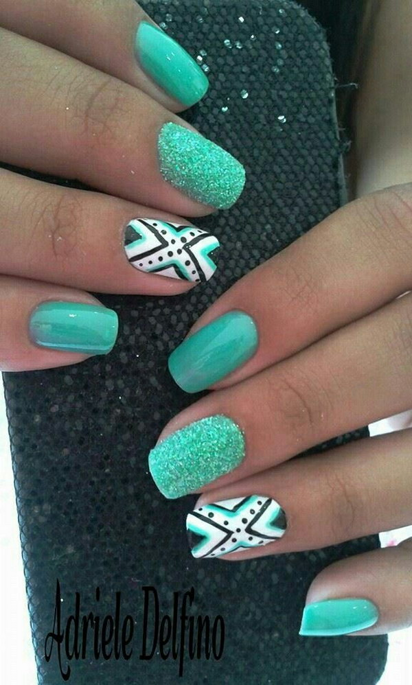 100 awesome green nail art designs tribal and mint green nail art design prinsesfo Gallery