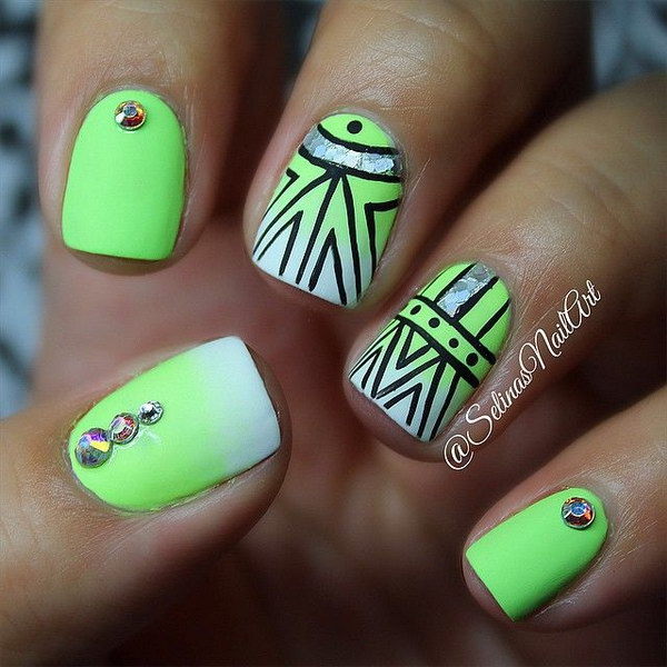 Lime Green Tribal Nail Design - 100+ Awesome Green Nail Art Designs
