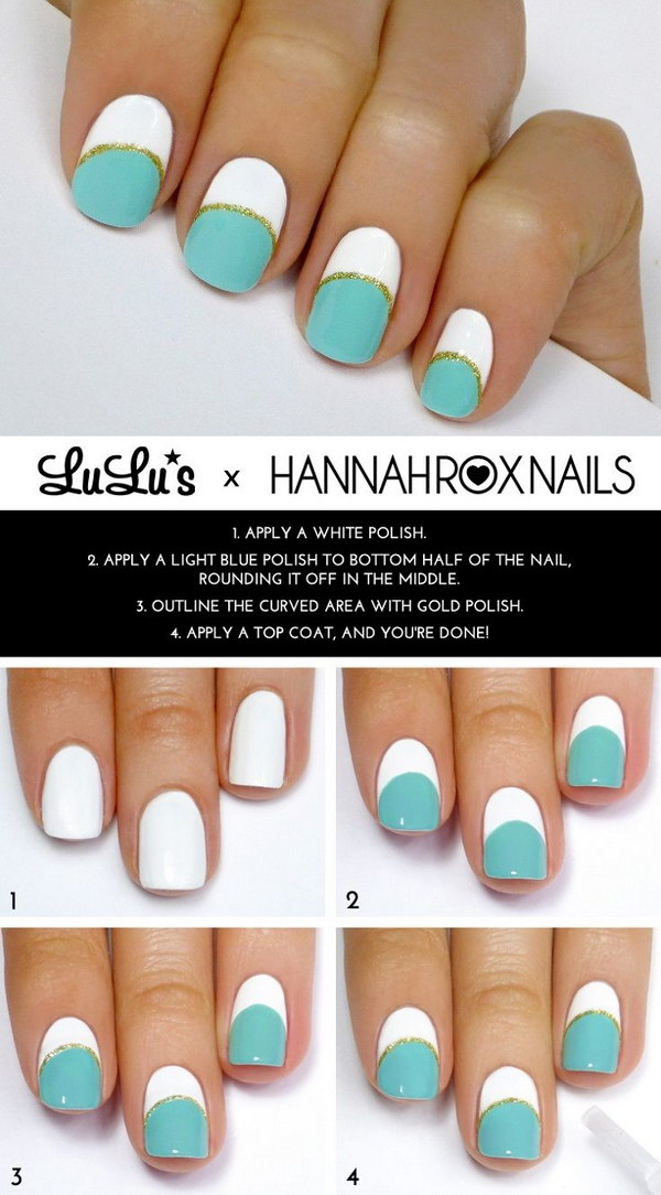 Mint, White and Gold Striped Manicure