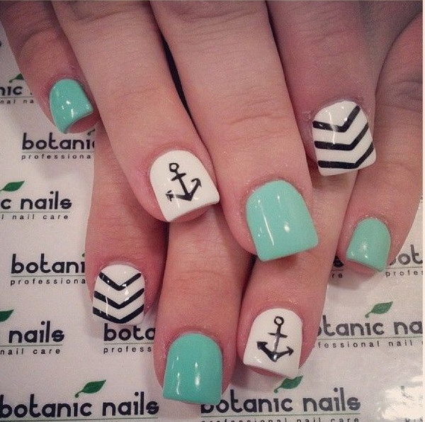 Cute Light Green, White and Black Anchor Nail Design