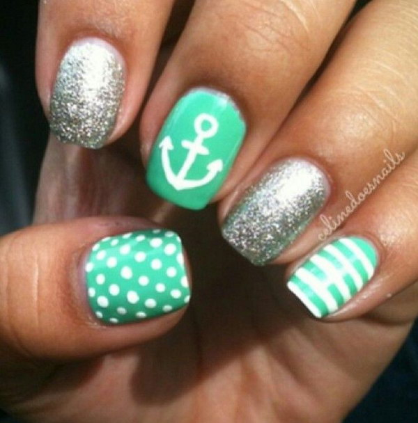 Nautical Mint Anchor and Polka Dots Sparkle Nails - 100+ Awesome Green Nail Art Designs