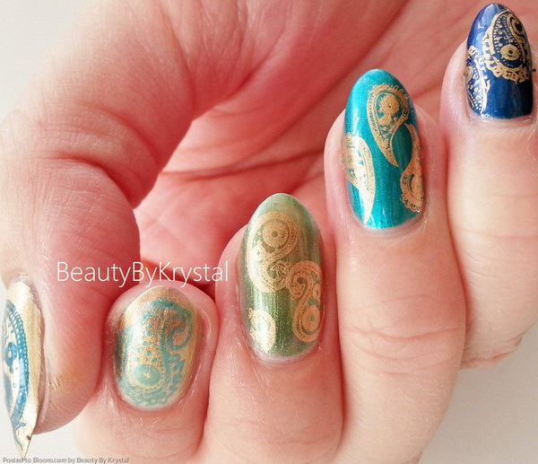 Antique Gold on Ombre Nail Art Design